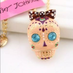 Betsey Johnson Enamel & Rhinestone Skull Necklace